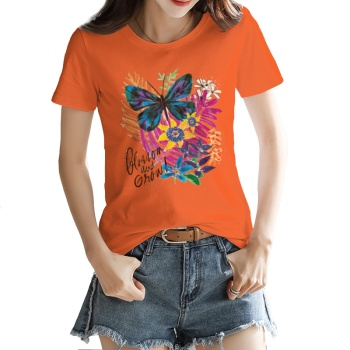 Rainbow Butterflies Custom Women's T-shirt Orange