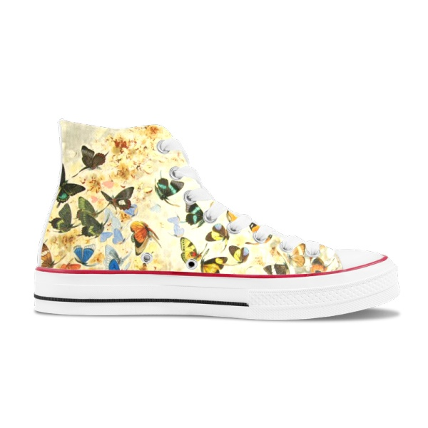 butterfly 2 Custom High Top Canvas Shoes White