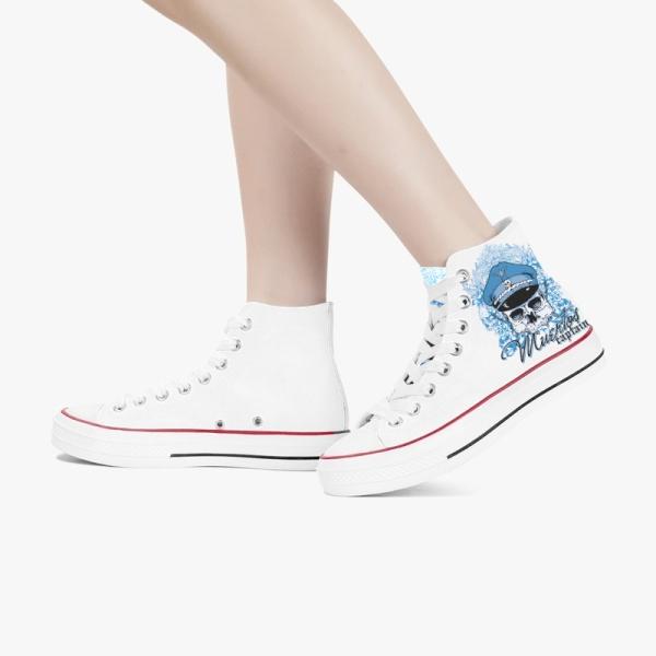 Captain Skeleton Custom High Top Canvas Shoes White