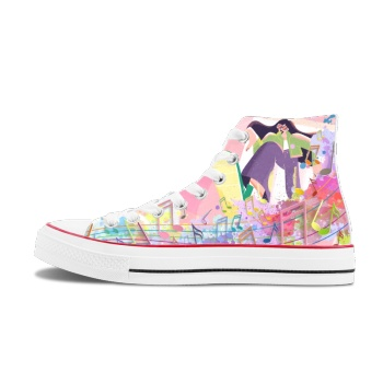 Color music and youth Custom High Top Canvas Shoes White