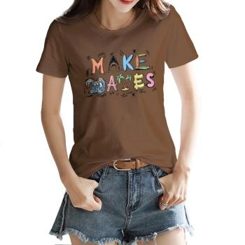 Cartoon alphabet shark Custom Women's T-shirt Brown