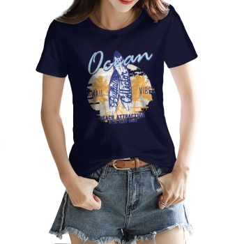 Blue letter surfboard Custom Women's T-shirt Purplish Blue