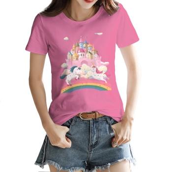 Rainbow Unicorn Custom Women's T-shirt Pink