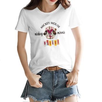 Cartoon anime mickey Custom Women's T-shirt White