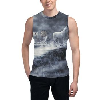 Howling of the wolf  Custom Men's Sleeveless T-shirt