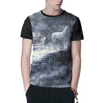 Howling of the wolf  Custom Men's T-shirt