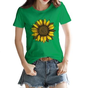 Leopard Sunflower Custom Women's T-shirt