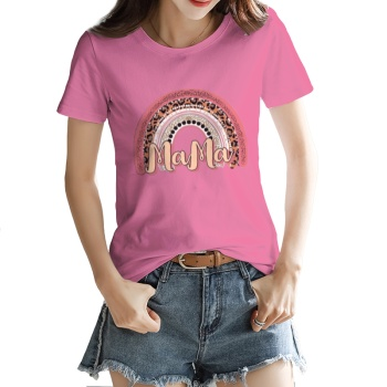 Leopard grain rainbow Custom Women's T-shirt