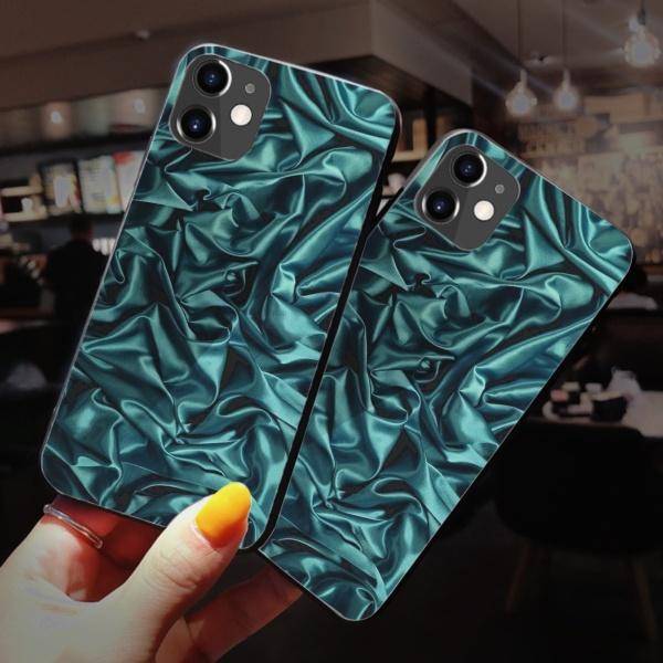 burga phone cases Dark green cloth Custom Toughened Phone Case for iPhone 12