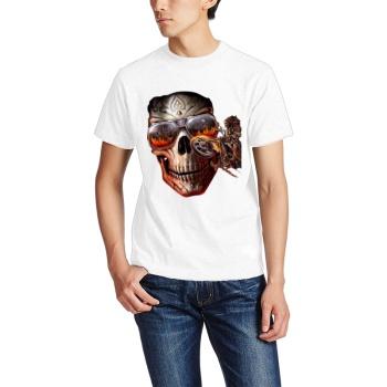 Scary skeleton Custom Men's Crew-Neckone T-shirt Navy White
