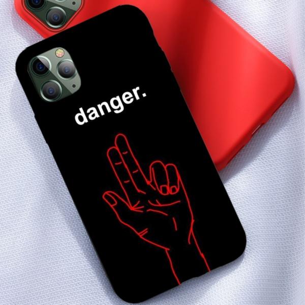 Danger Custom Liquid Silicone Phone Case for iPhone 12 Pro Max