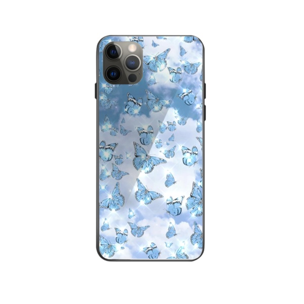 Blueish Purple Butterfly Custom Toughened Phone Case for iPhone 12 Pro Max