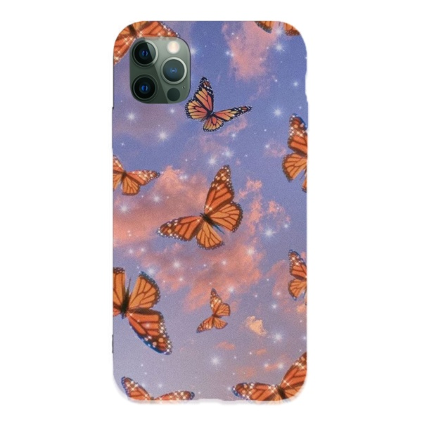 Yellow Butterfly Custom Liquid Silicone Phone Case for iPhone 12 Pro Max