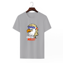 Eagle Mullet Custom Men's Crew-Neckone T-shirt Gray