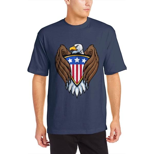 Bald eagle symbol Custom Men's Crew-Neckone T-shirt Navy Blue