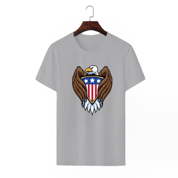 Bald eagle symbol Custom Men's Crew-Neckone T-shirt Gray