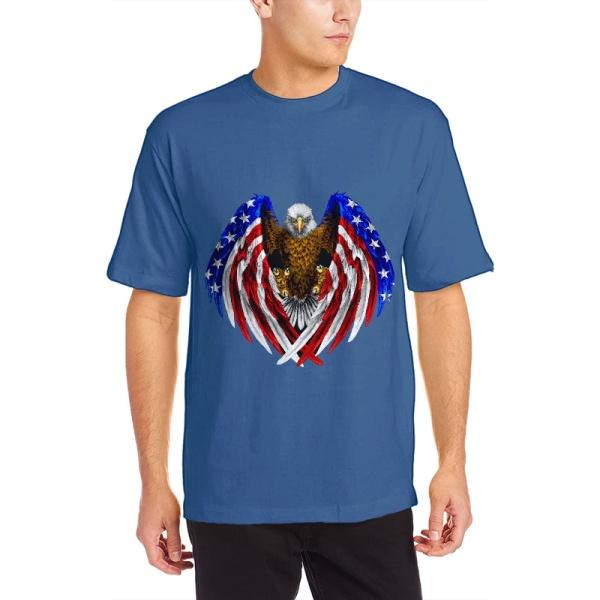 American Pride Custom Men's Crew-Neckone T-shirt Navy Sapphir Blue