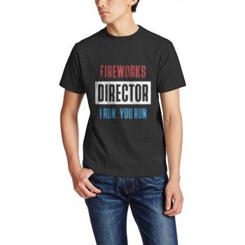 FIREWORKS DIRECTOR I RUN, YOU RUN Custom Men's Crew-Neckone T-shirt Black