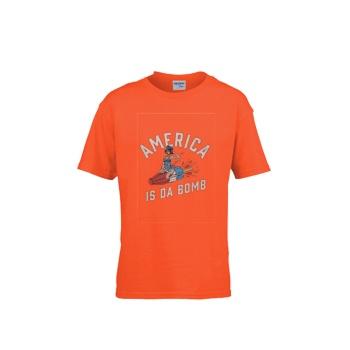 AMERICA IS DA BOMB Gildan Children's Round Neck T-shirt Orange
