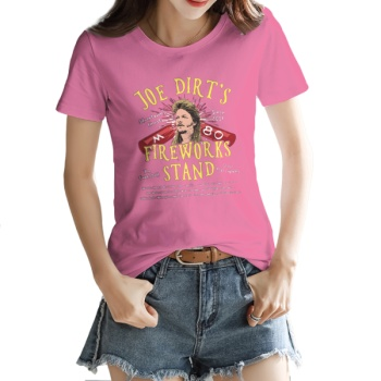 JOE DIRT'S FIREWORKS STAND Custom Women's T-shirt Pink
