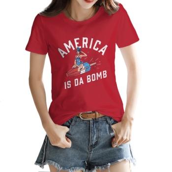 AMERICA IS DA BOMB Custom Women's T-shirt Red