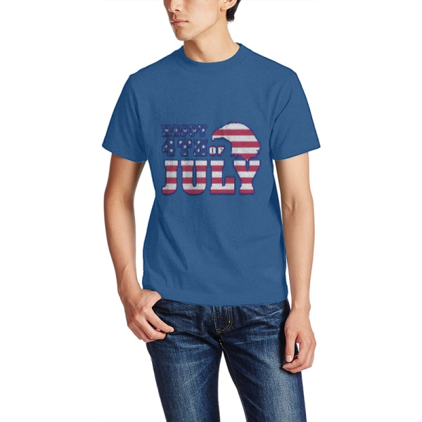 Happy 4th Of July Custom Men's Crew-Neckone T-shirt