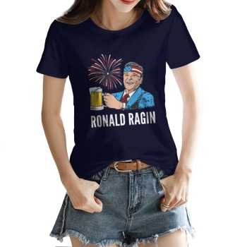 RONALD RAGIN Custom Women's T-shirt Purplish Blue