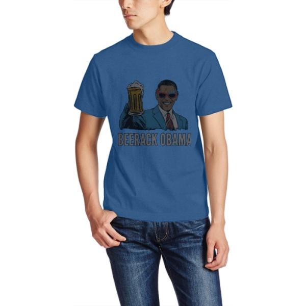 BEERACK OBAMA Custom Men's Crew-Neckone T-shirt Navy Sapphir Blue