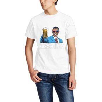 BEERACK OBAMA Custom Men's Crew-Neckone T-shirt Navy White