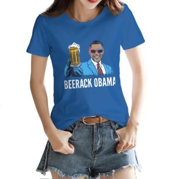 BEERACK OBAMA Custom Women's T-shirt Dark Blue