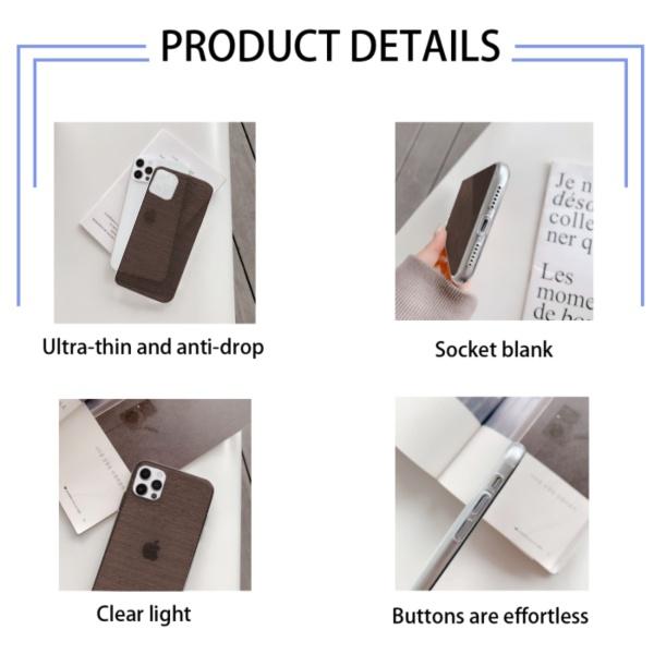 Dark Wood Texture Custom Transparent Phone Case for iPhone 12 Pro