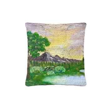 Tree on a lake Custom Sequin Pillowcase