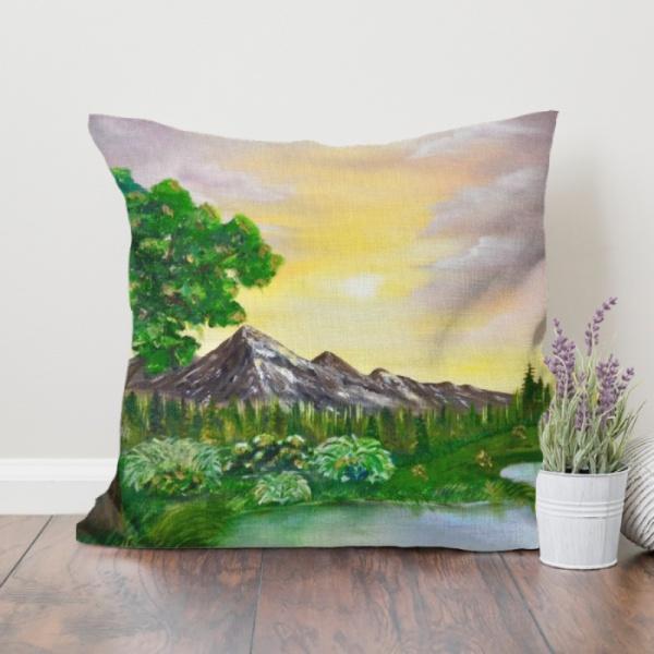 Tree on a lake Custom Flax Pillowcase