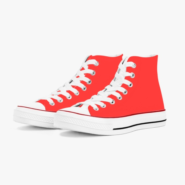 Classic Red Alert Men's High Top Canvas Shoes