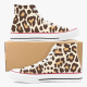 Animal Leopard Sneaker  Custom High Top Canvas Shoes White