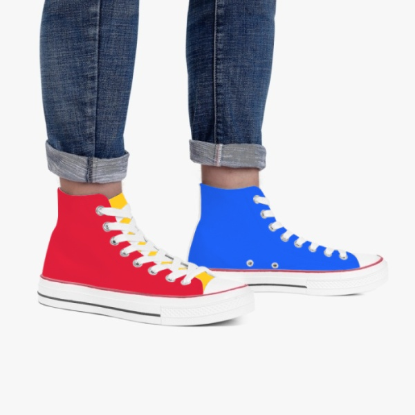 Tri-panel  Rainbow Color Block High Top Canvas Blue Green Red Yellow  Sneakers Basketball Shoes