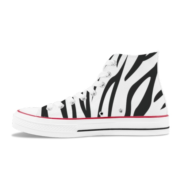 Tri-Panel  Platform Zebra Green   High Top Canvas Shoes   For Men/ Women  Fashion Sneakers