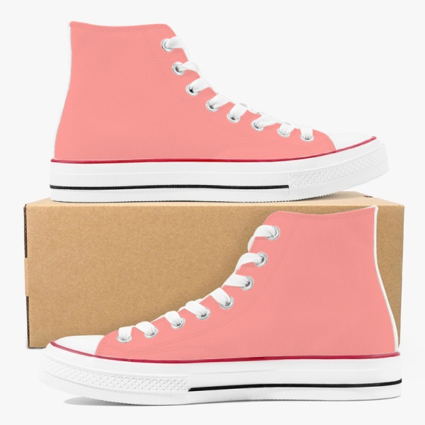 Tri-panel Yellow Pink Canvas Sneakers  High Top Lace Up Canvas Shoes Fashion Comfortable