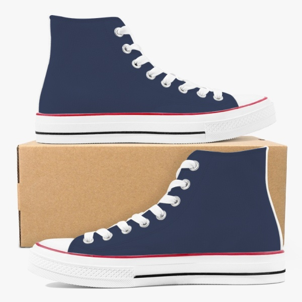 Tri-Panel Navy Blue  Dark Brown Canvas Sneakers  High Top Lace Up Canvas Shoes Fashion Comfortable