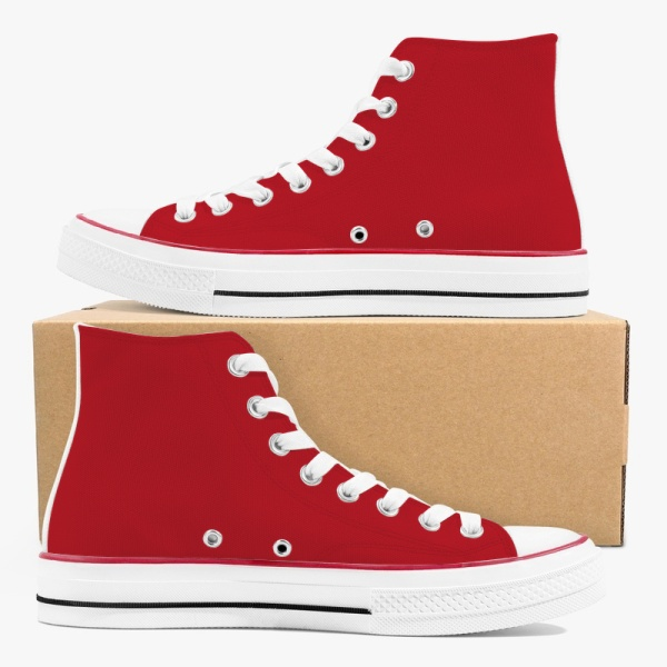 Tri-panel Black Red Womens Canvas  Sneakers High Top Lace Up Canvas Shoes Fashion Comfortable