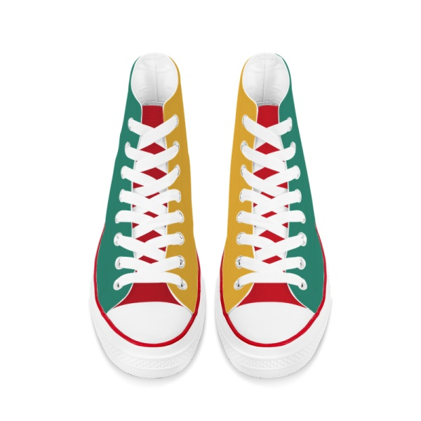 Tri-panel Yellow Green  Canvas Sneakers  High Top Lace Up Canvas Shoes Fashion Comfortable