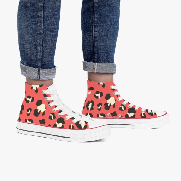 Animal  Leopard Red High Top Canvas Shoes White