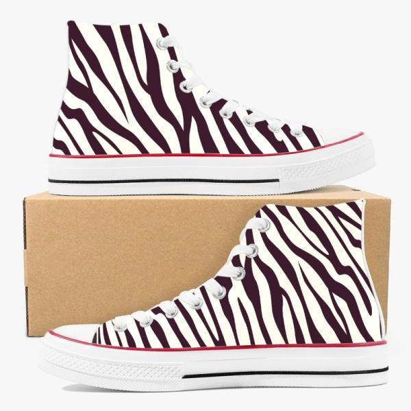 Animal  Zebra Sripe Custom High Top Canvas Shoes White
