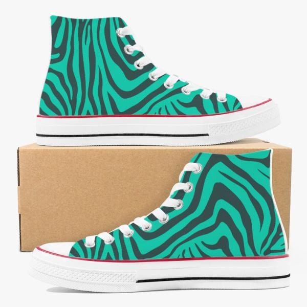 Animal  Zebra Green Custom High Top Canvas Shoes White
