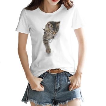 3D Cat Custom Women's T-shirt White