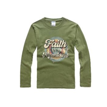 southern attitude shirts Custom Men's Round Neck Long Sleeve T-shirt Army Green