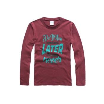 southern attitude shirts Custom Men's Round Neck Long Sleeve T-shirt Wine Red