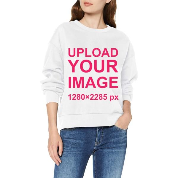 Custom Women's White Crew Neck Sweater