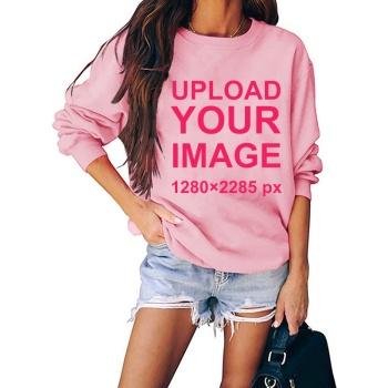 Custom Women's Pink Crew Neck Sweater