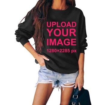 Custom Women's Black Crew Neck Sweater
